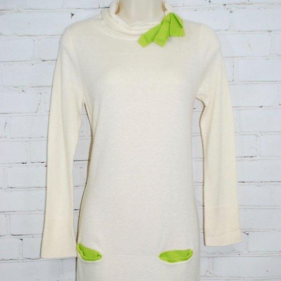 Garnet Hill Girls Bow Detail Sweater Dress Wool